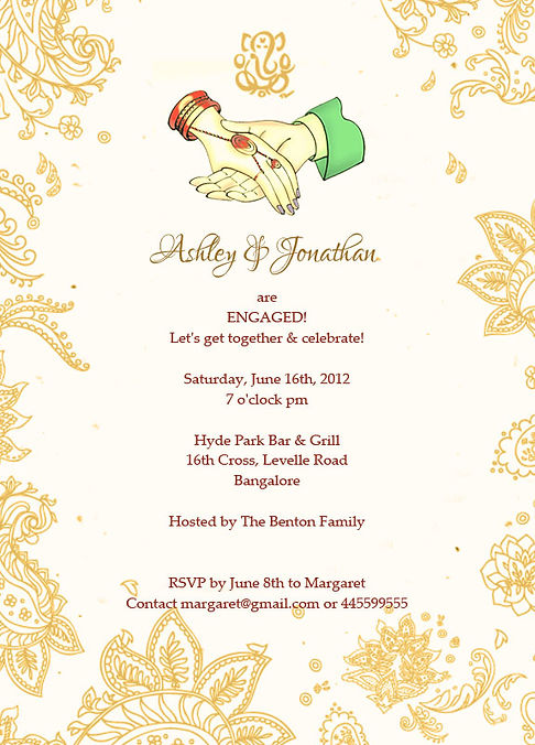 Indian Engagment/Betrothal Ceremony Invitation Wordings