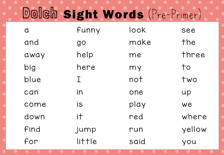 Dolch Sight Words Activities Pre-Primer / Pre-K Level Little Dots