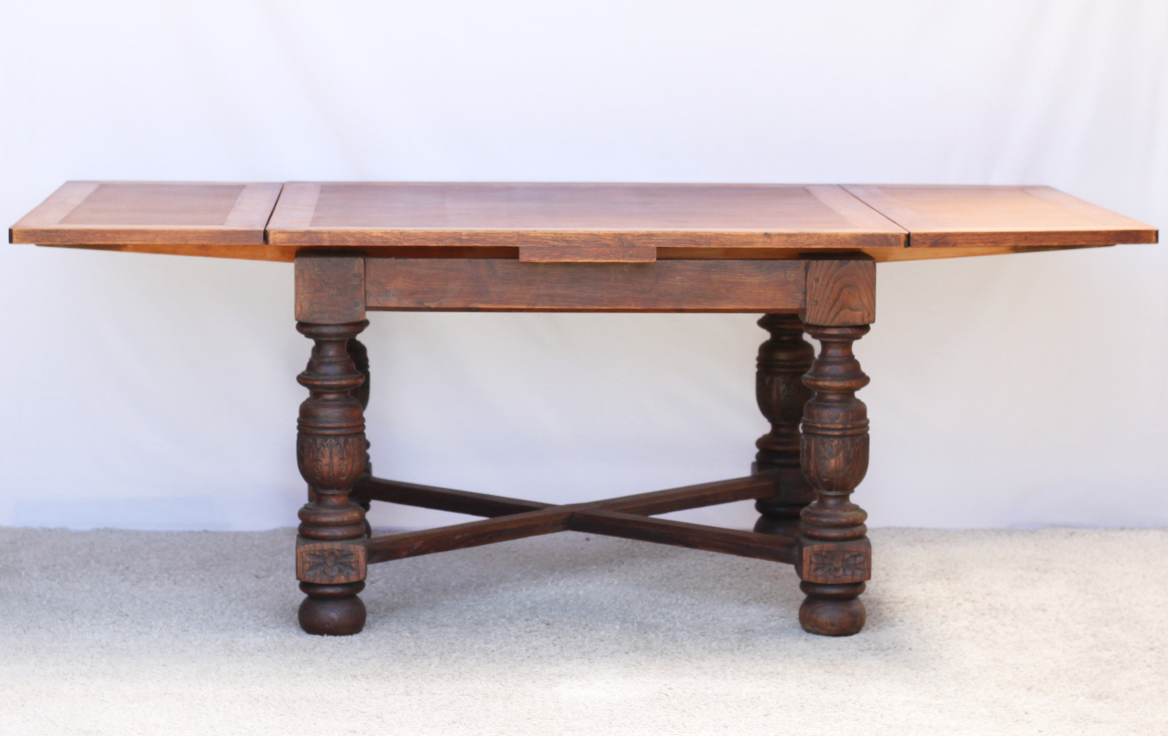 Draw Leaf Oak Dining Table With Carved Legs All Things French