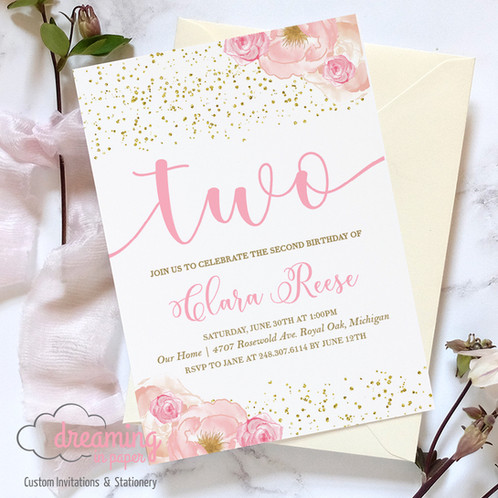 Pink Floral Gold Confetti Second 2nd Birthday Invitation