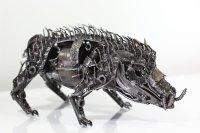WILD BOAR SCULPTURE - PIG METAL ARTWORK