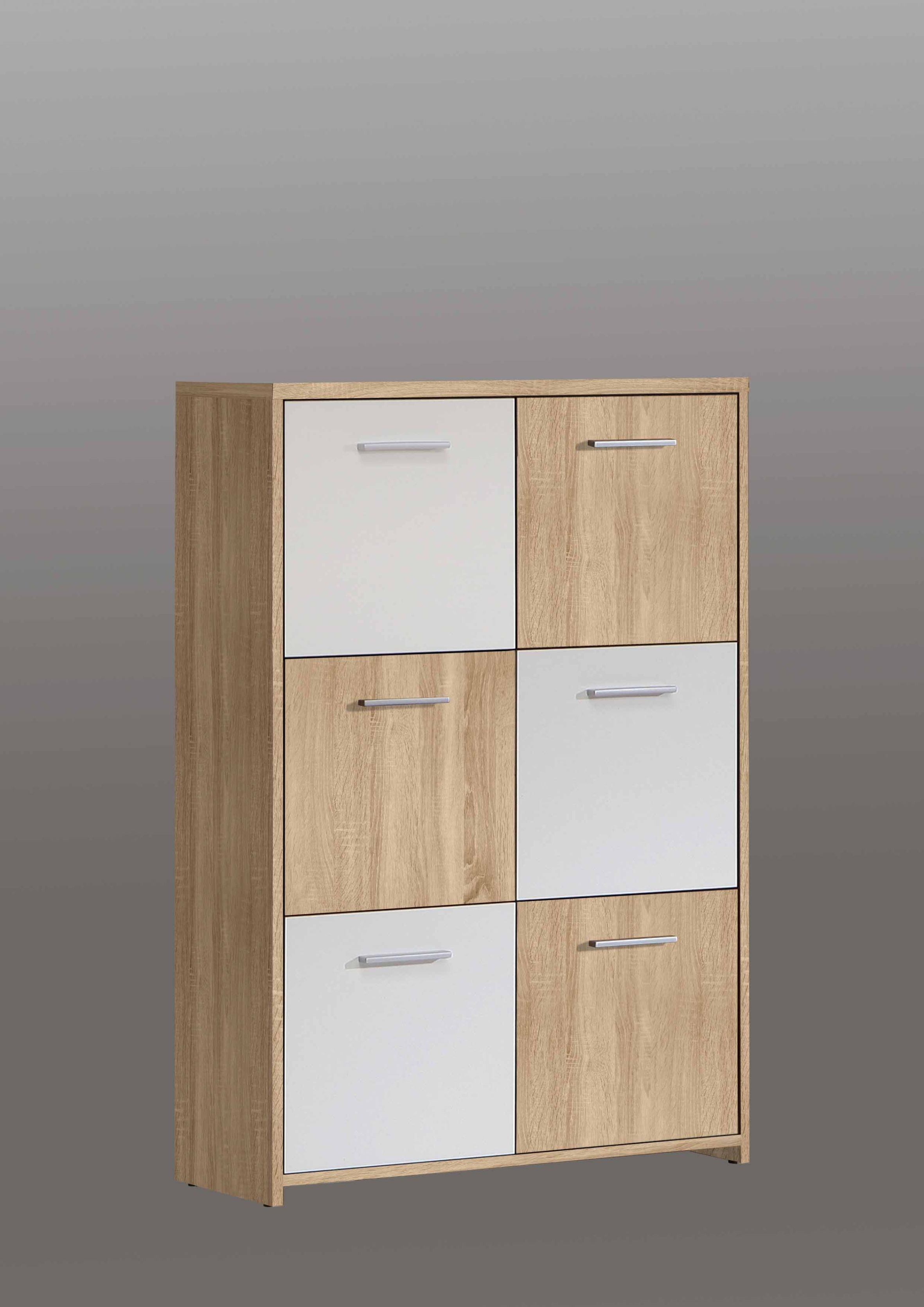 Highboard Kommode Highboard Quadro 6 Türig Sonoma Eiche Weiß