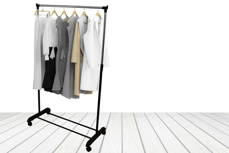 Stainless Steel Mobile Clothing Rail For 9