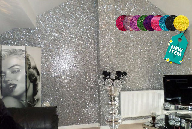 Black Glitter Wallpaper Bedroom Glitter Paint For Walls Shop Wowcher