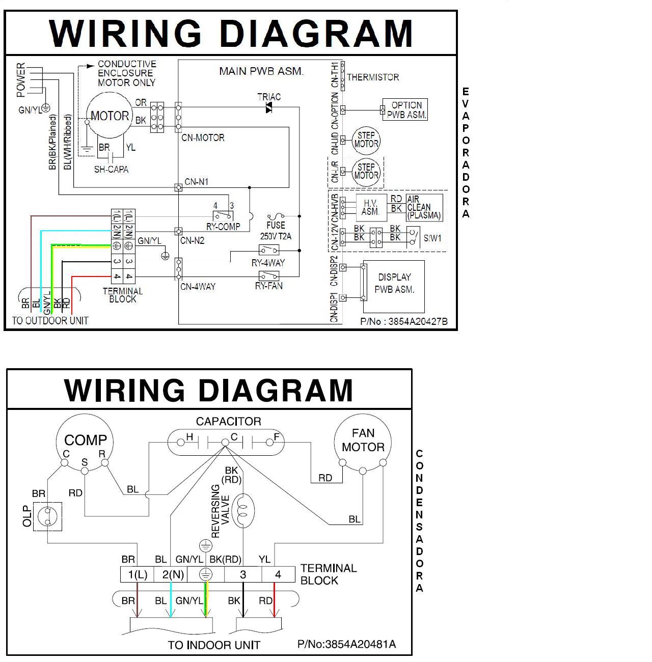 diagrama de cableado of split air conditioner