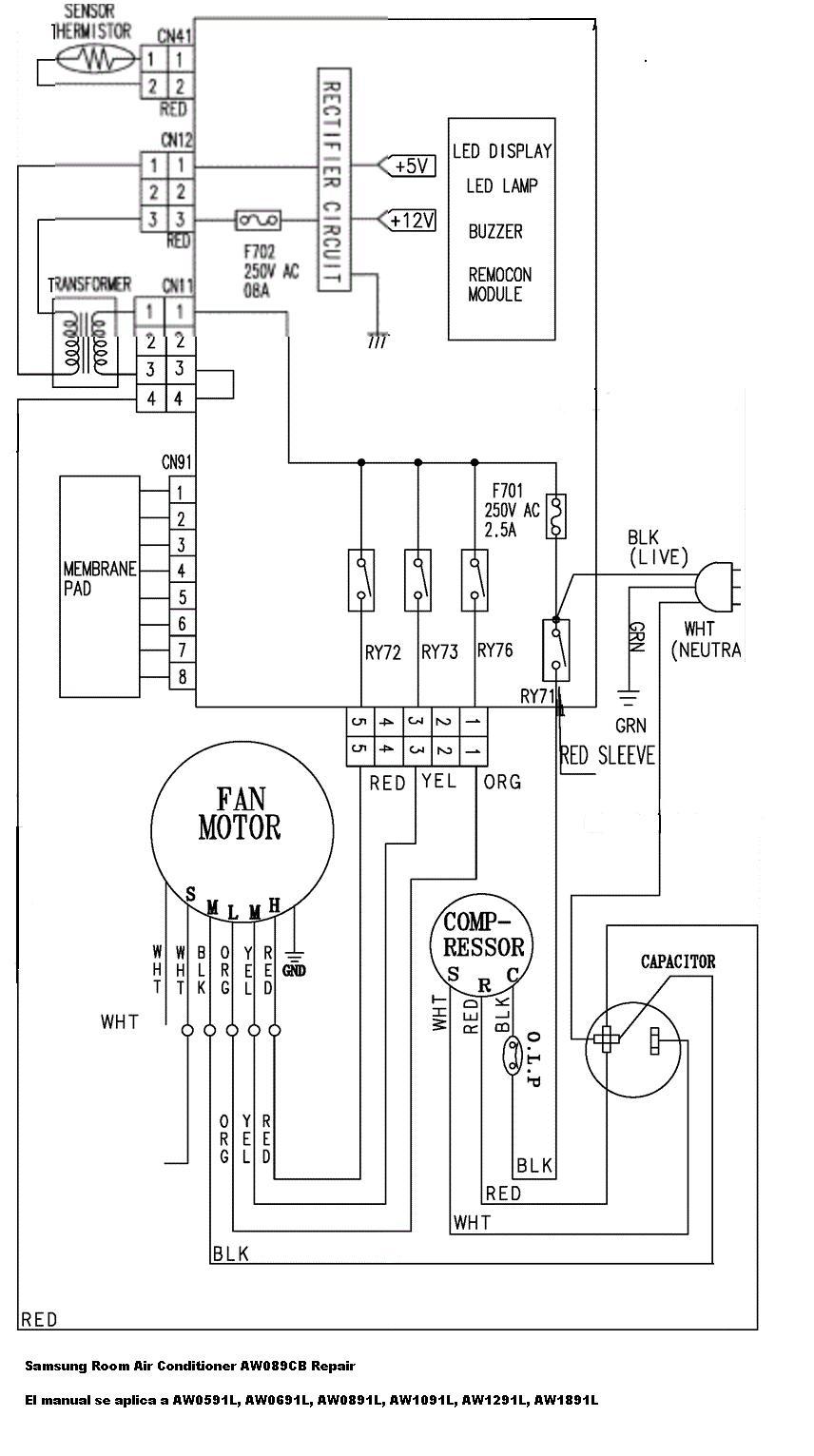 samsung split air conditioner diagrama de cableado