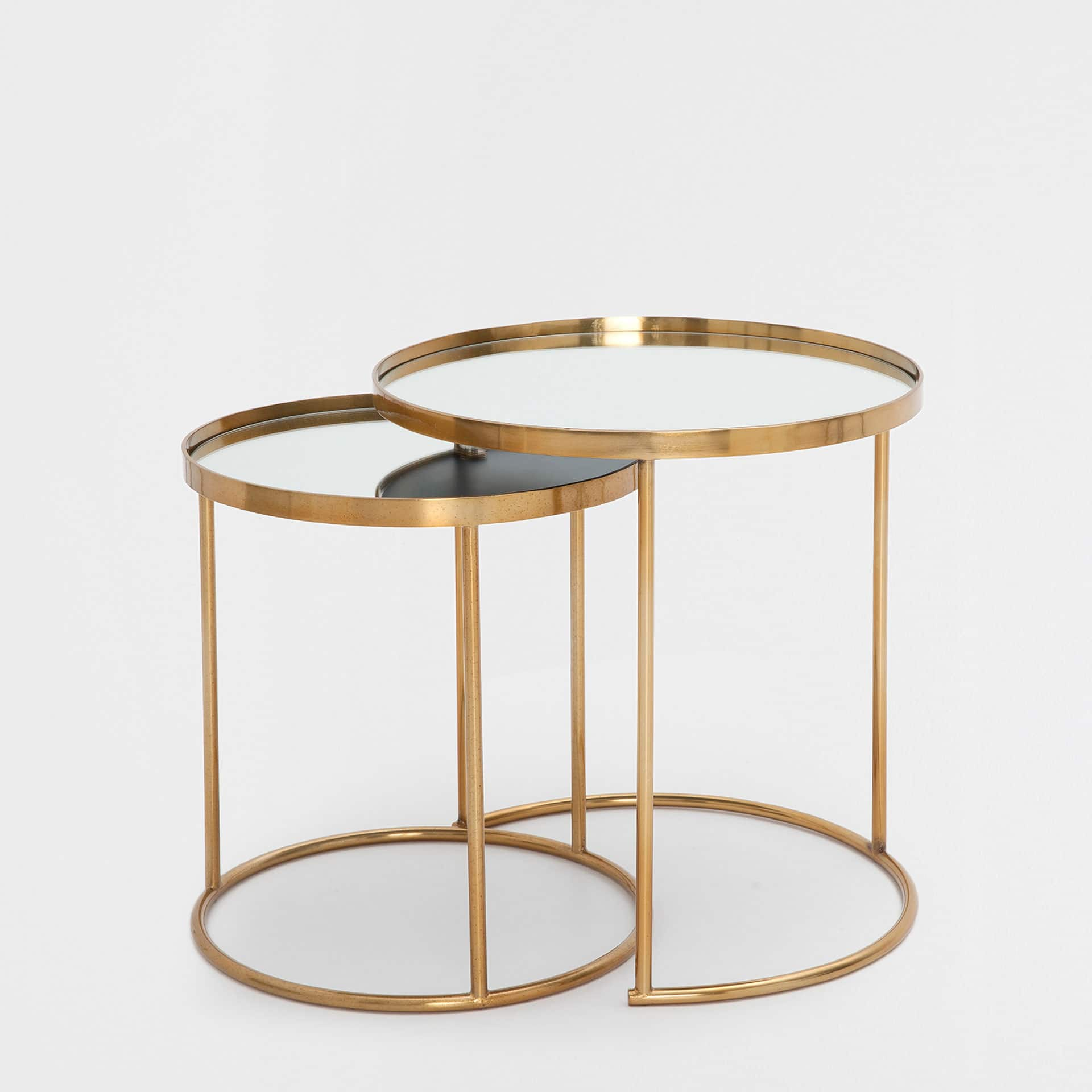 Gold Nesting Coffee Table Round Gold Nest Of Tables Set Of 2
