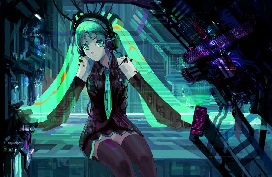 Anime Girls Headphones And Radio 1920x1080 Wallpaper Hatsune Miku Vocaloid Image 220893 Zerochan Anime