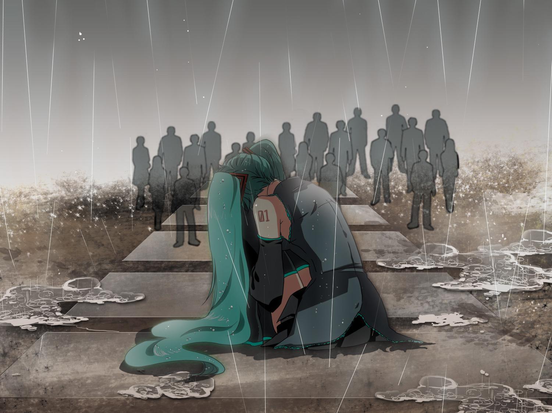 Sad Anime Girl Crying In The Rain Wallpaper Crowd Zerochan Anime Image Board