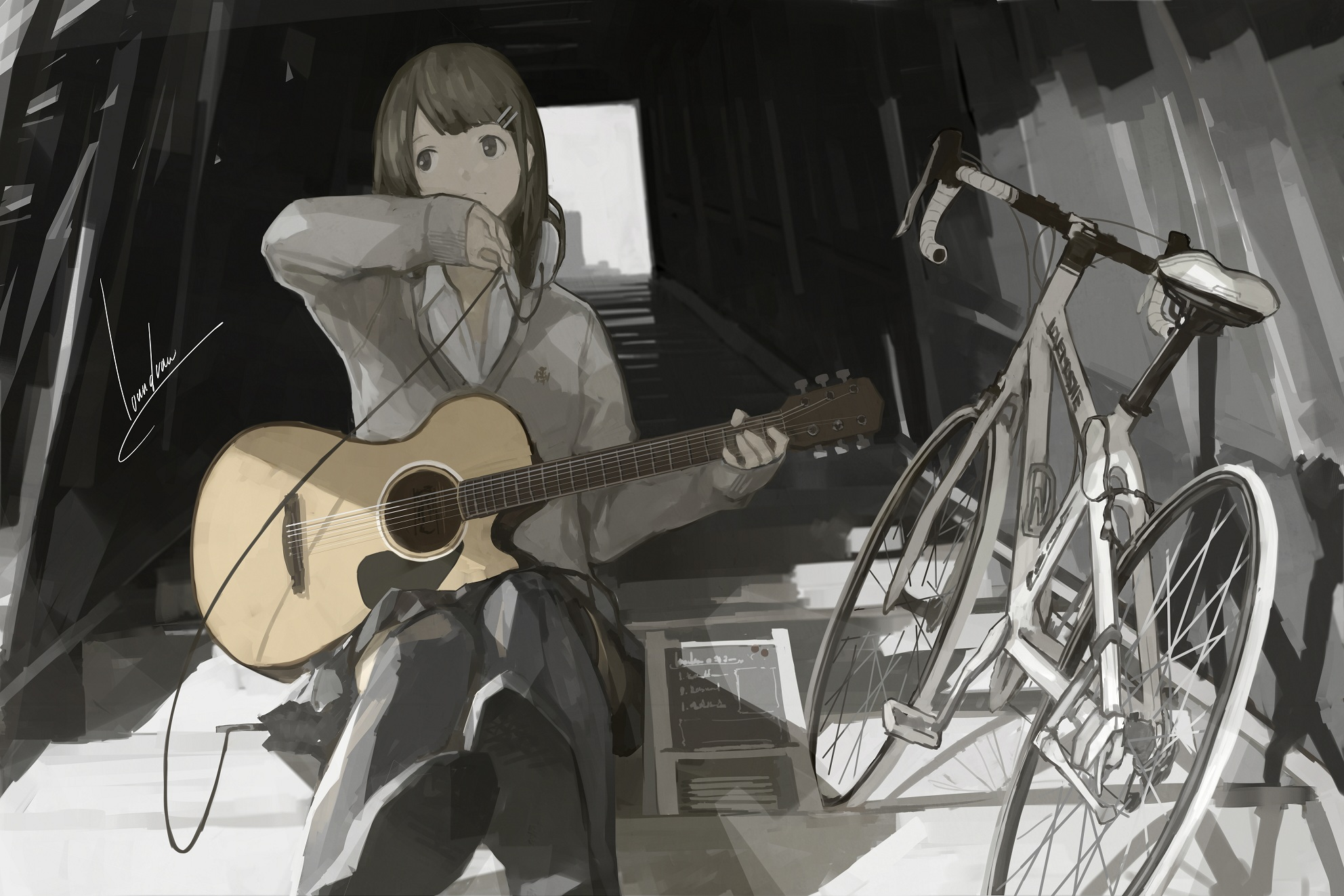 Guitar Girl Wallpaper Iphone Loundraw Zerochan Anime Image Board