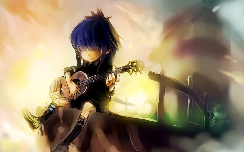 Download Wallpaper Of Girl With Guitar Noodle Gorillaz Zerochan Anime Image Board