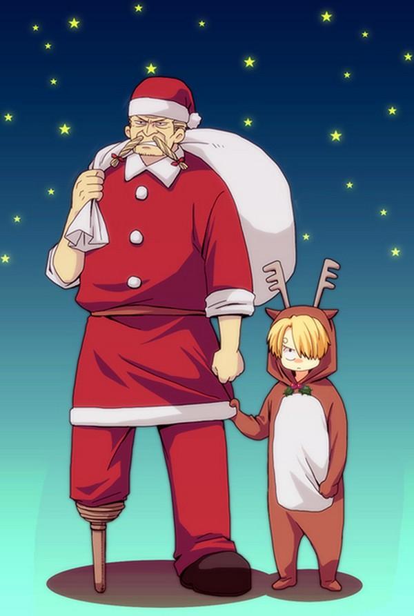 Anime Girls Together Wallpaper One Piece Christmas Zerochan Anime Image Board