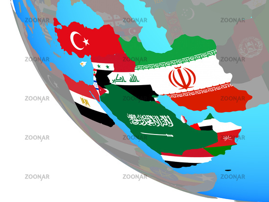 Photo Middle East with flags on globe Image #12772146