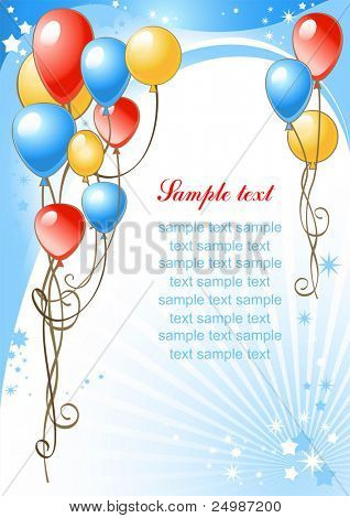 happy birthday background with balloons Poster ID24987200