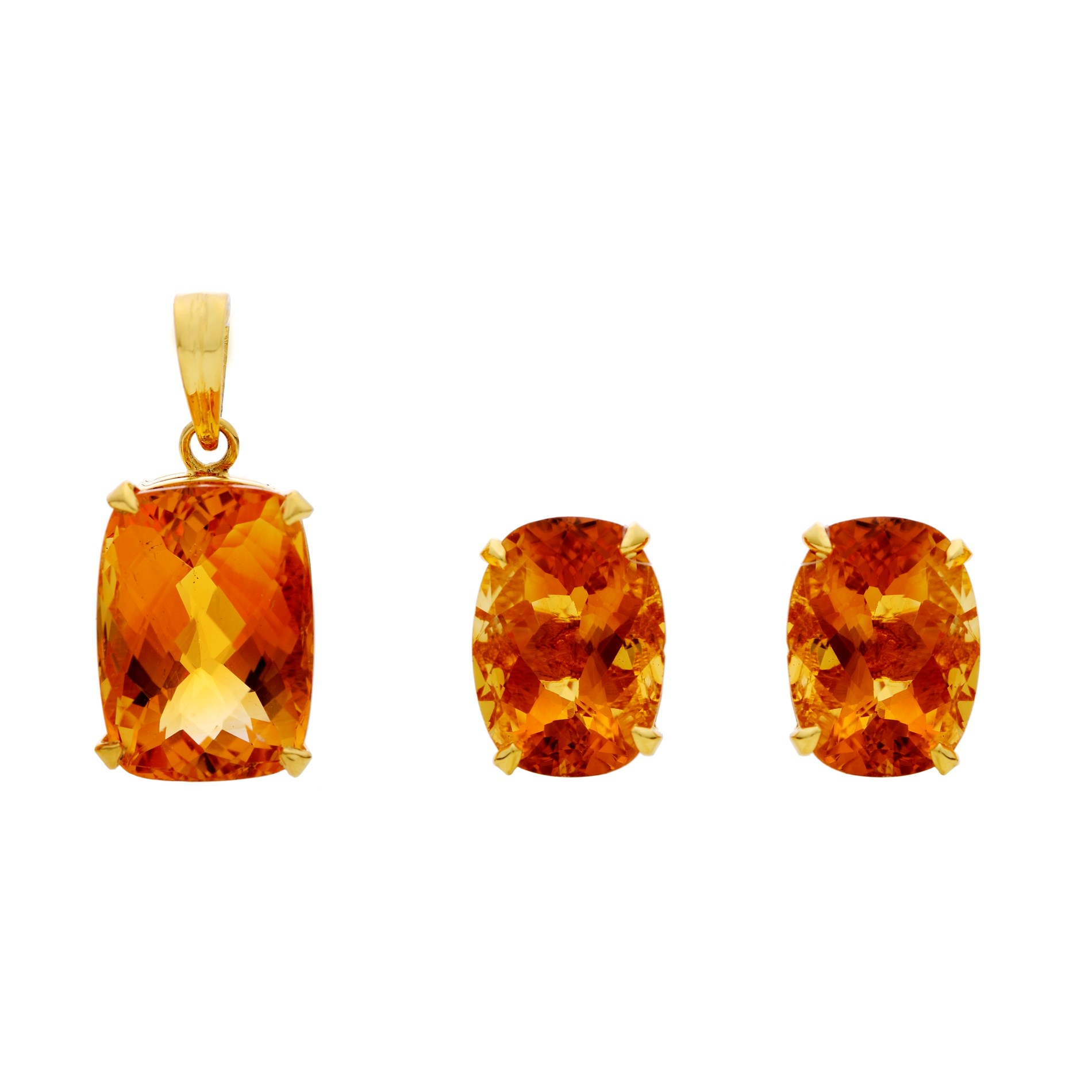 Buy Golden Topaz Statement Earrings & Pendant online