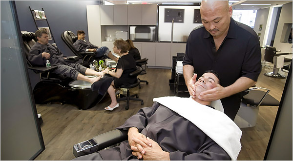 Crazy About Hair The Salon Men Seek To Be Shorn Under A Good Sign The New York Times