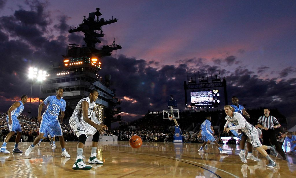 Miami Hurricanes Wallpaper Hd U N C And Michigan State Tip Off On An Aircraft Carrier