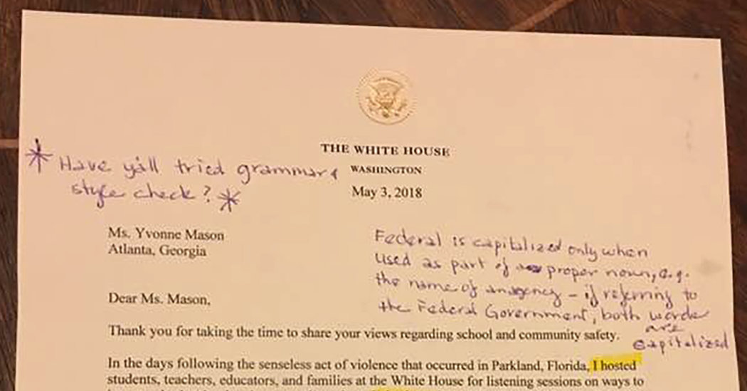 OMG This Is Wrong!\u0027 Retired English Teacher Marks Up a White House