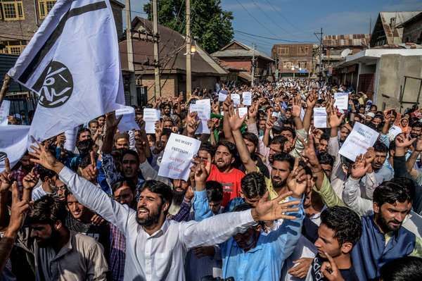 Protests in Srinagar last week against India's abolition of Kashmir's autonomy.