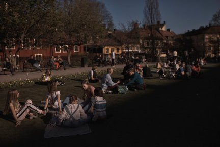 Picnickers in Stockholm last week. Sweden has not restricted park use, and bars and restaurants have remained open.