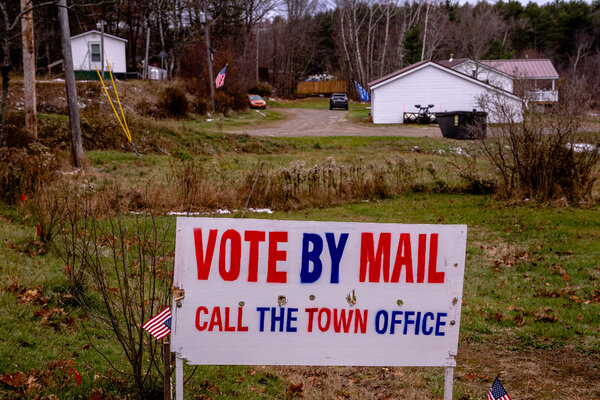 A yard sign remained in Swanville, Maine.