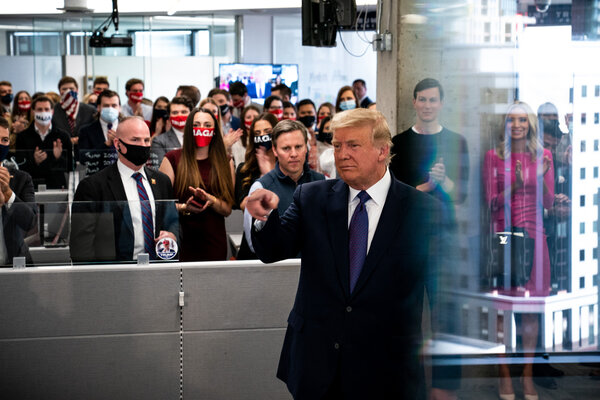 President Trump spoke to campaign workers in Arlington, Va.