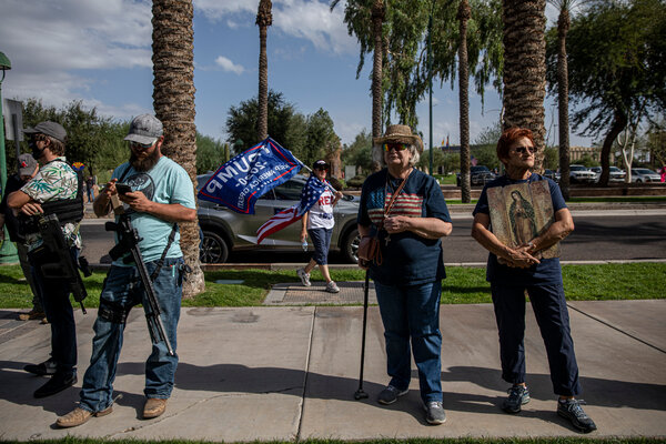 Supporters of President Trump outside the Arizona state capitol in Phoenix last week. Mr. Trump lost Arizona to President-elect Joseph R. Biden Jr.