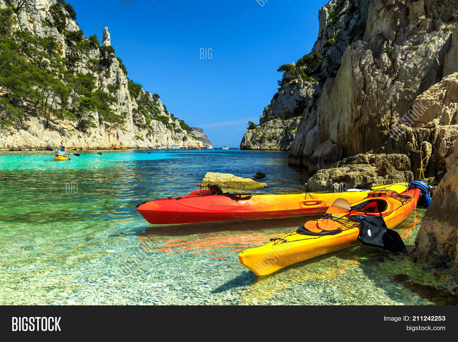 Location Canoe Cassis Colorful Kayaks Famous Image Photo Free Trial Bigstock