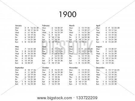 Calendar Year 1900 Image  Photo (Free Trial) Bigstock