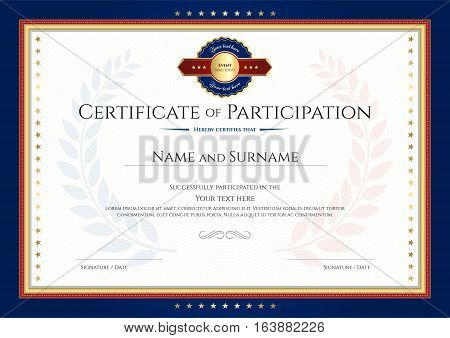 Certificate Participation Template Vector  Photo Bigstock - certificate of participation template