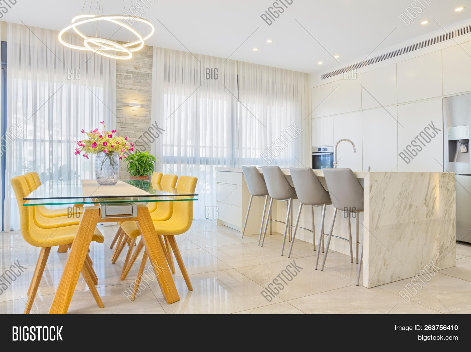 White Marble Island Modern Design Luxury Image Photo Free Trial Bigstock
