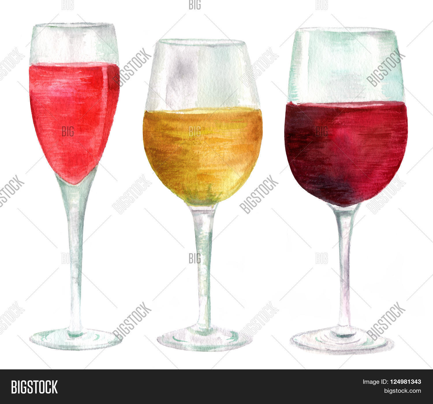 Big Red Wine Glasses Three Watercolor Wine Image And Photo Free Trial Bigstock