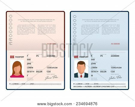 Vector Blank Open Passport Vector  Photo Bigstock - passport template
