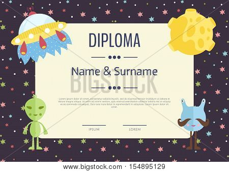 Kids Diploma Template Vector  Photo (Free Trial) Bigstock
