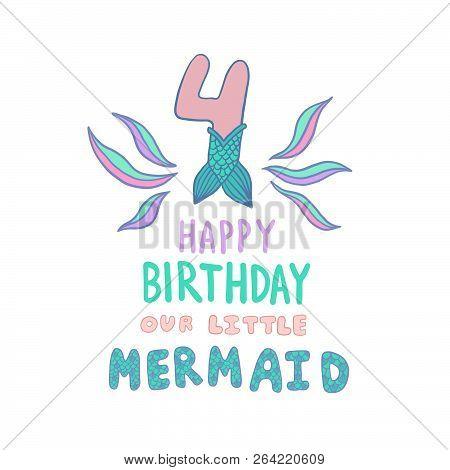 Number Four Mermaid Vector  Photo (Free Trial) Bigstock