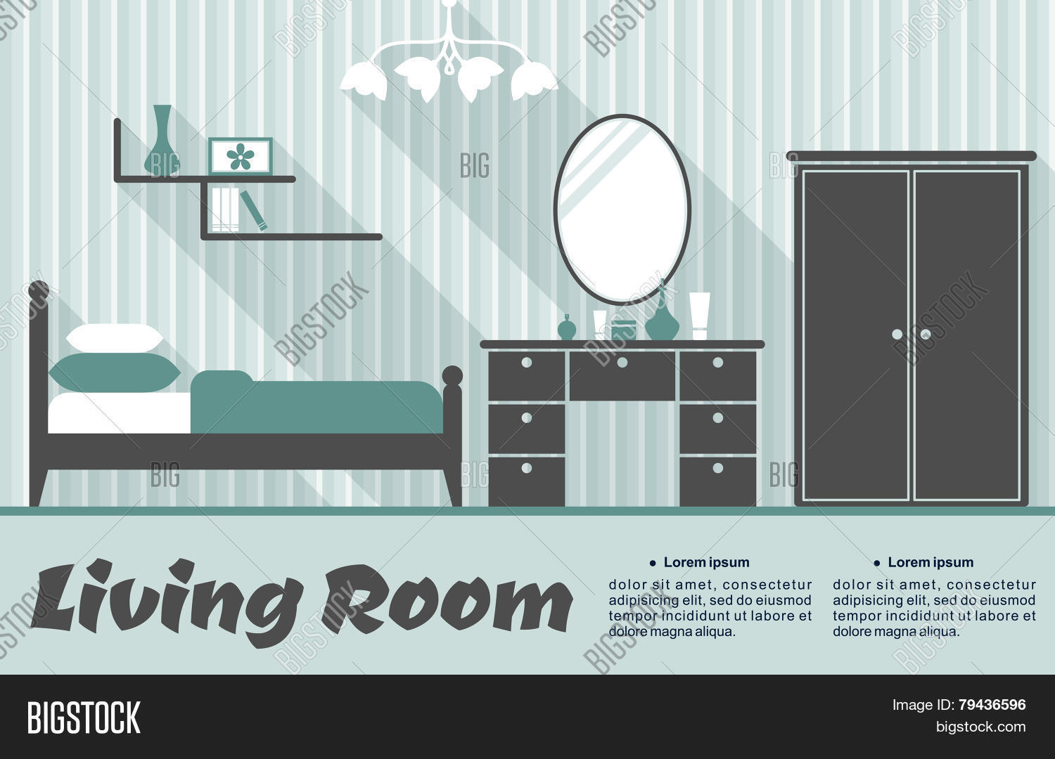 Flat Living Room Vector Photo Free Trial Bigstock