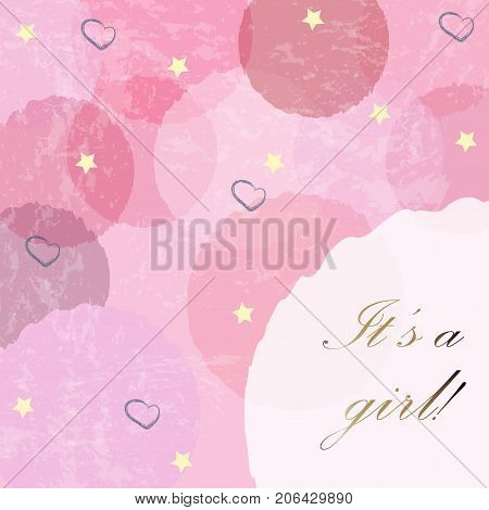 Girl Modern Card Design Vector  Photo Bigstock - Birth Of Baby Girl