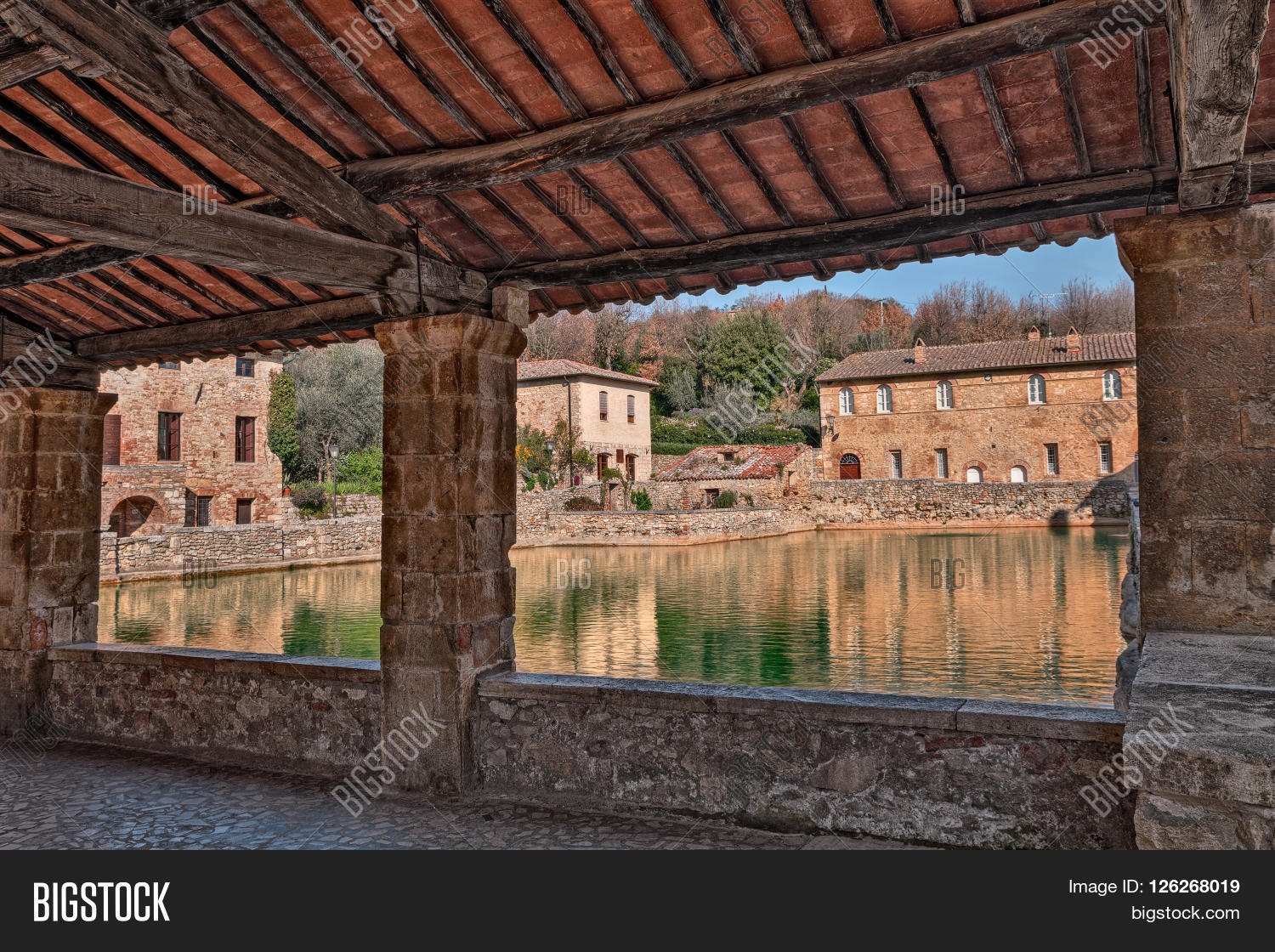 Bagno Vignoni Free Thermal Baths Old Thermal Baths Image Photo Free Trial Bigstock