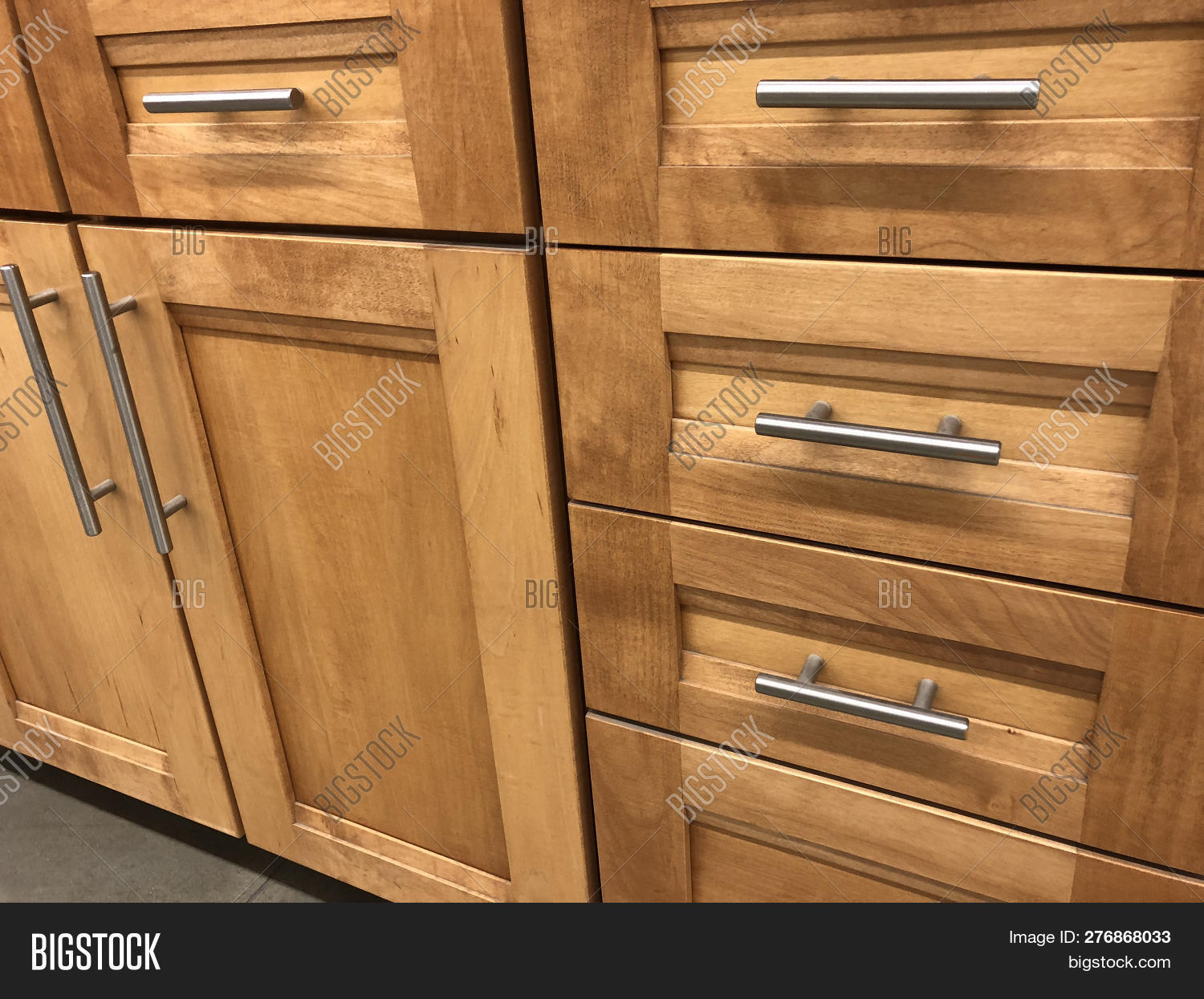 Chrome Handles For Kitchen Cabinets Wood Kitchen Cabinets Image Photo Free Trial Bigstock