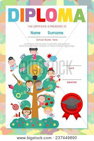 kids diploma certificate background design vector image 30 kids