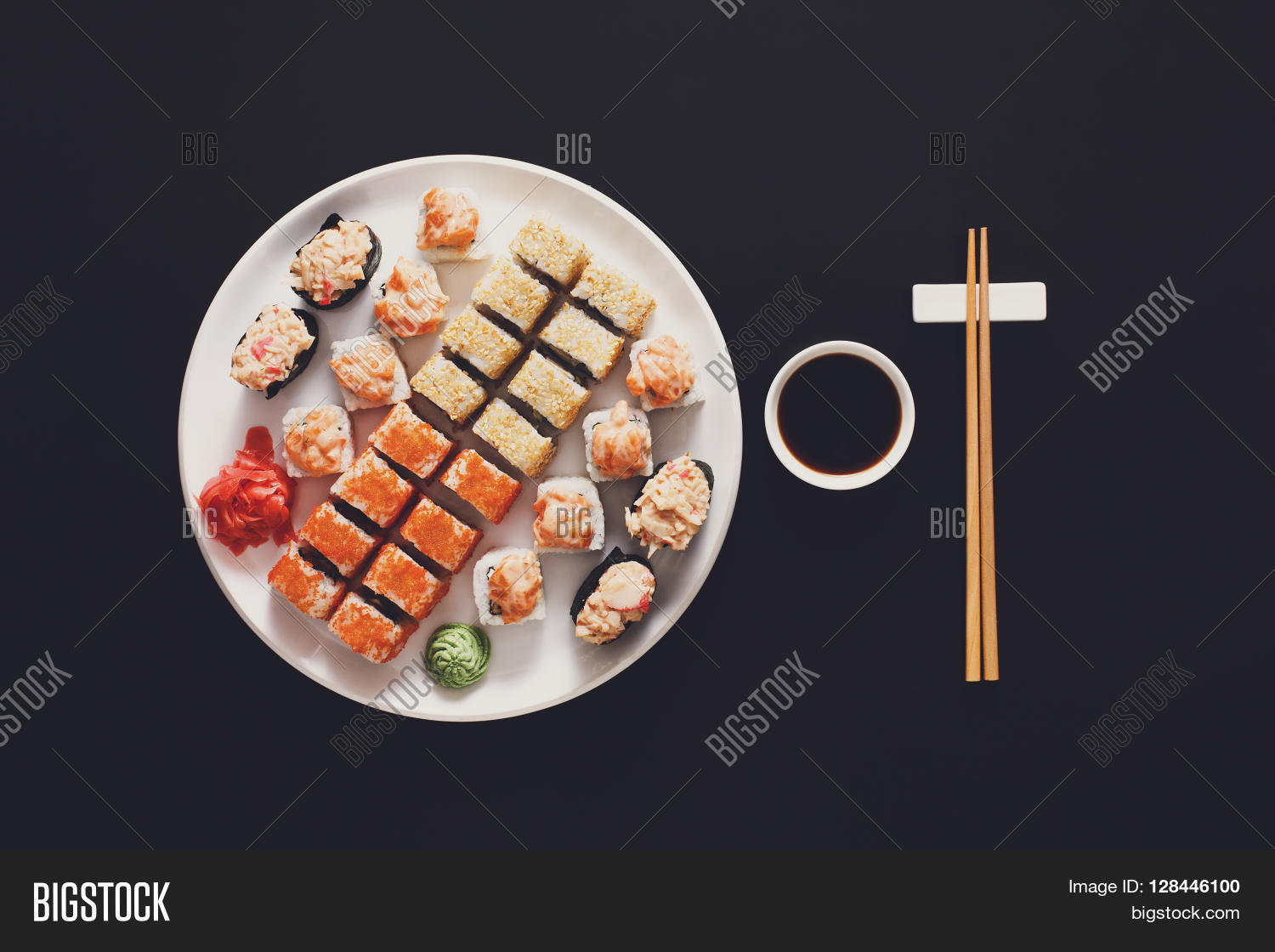 Plate With Food Top View Japanese Food Image And Photo Free Trial Bigstock