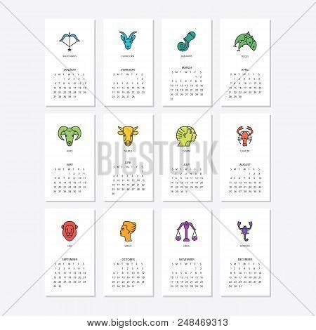Calendar 2019 Vector  Photo (Free Trial) Bigstock