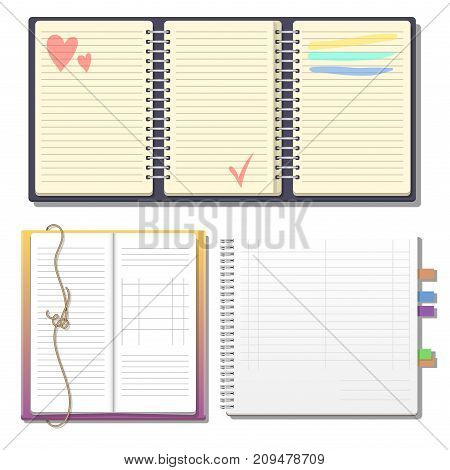 Set Open Realistic Notebooks Pages Vector  Photo Bigstock - diary paper template