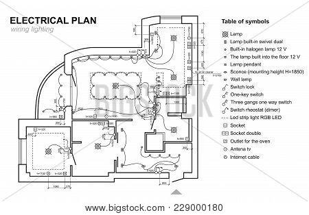 Plan Wiring Lighting Vector  Photo (Free Trial) Bigstock