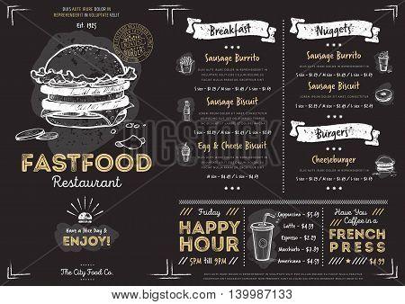 Chalkboard Menu Vector  Photo (Free Trial) Bigstock - menu design template
