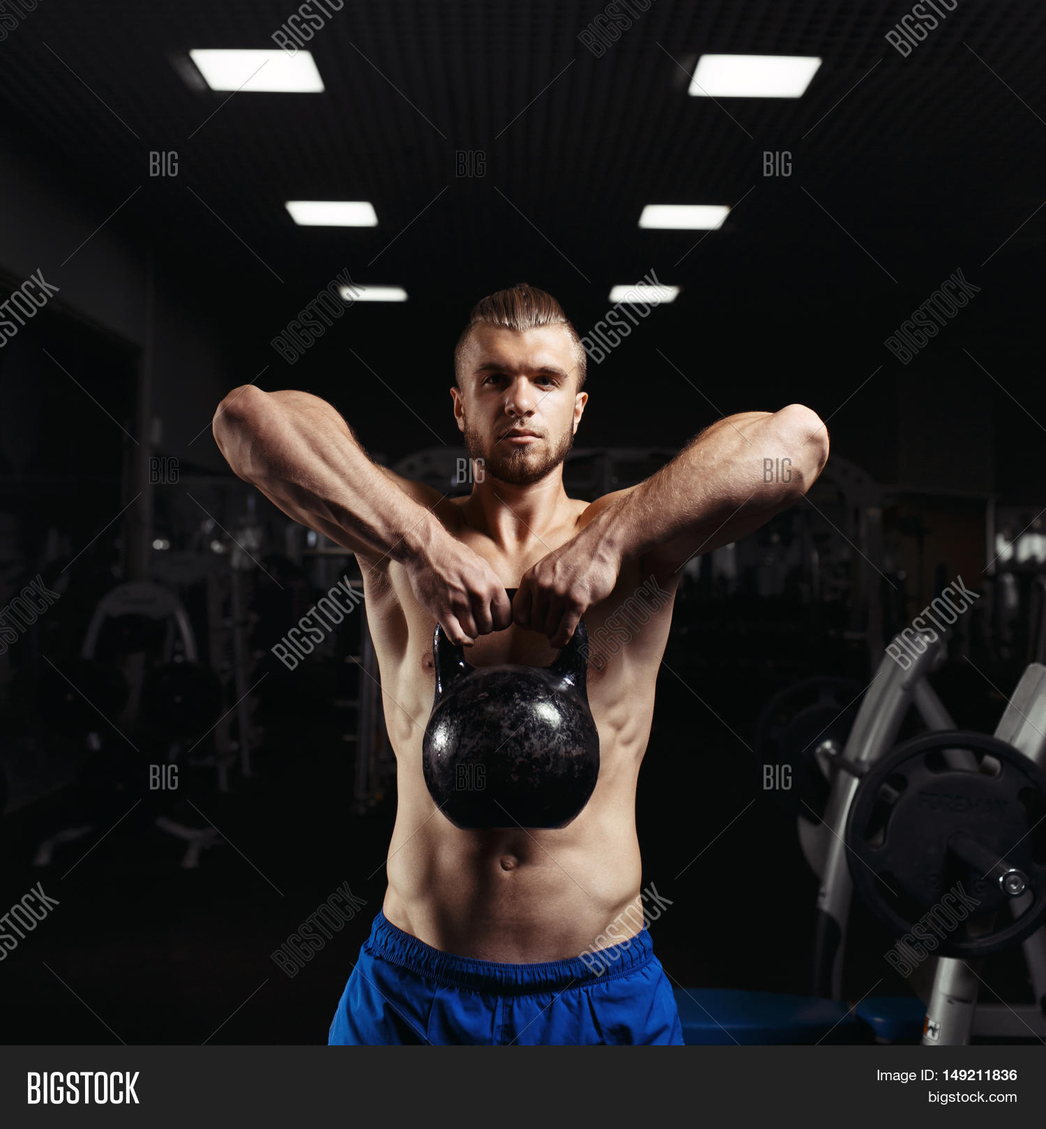 Kettlebell Bodybuilding Fitness Man Doing Image Photo Free Trial Bigstock