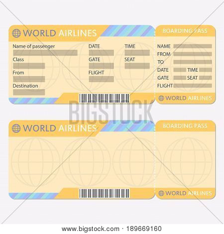 Airline Plane Ticket Template Vector  Photo Bigstock - airplane ticket template