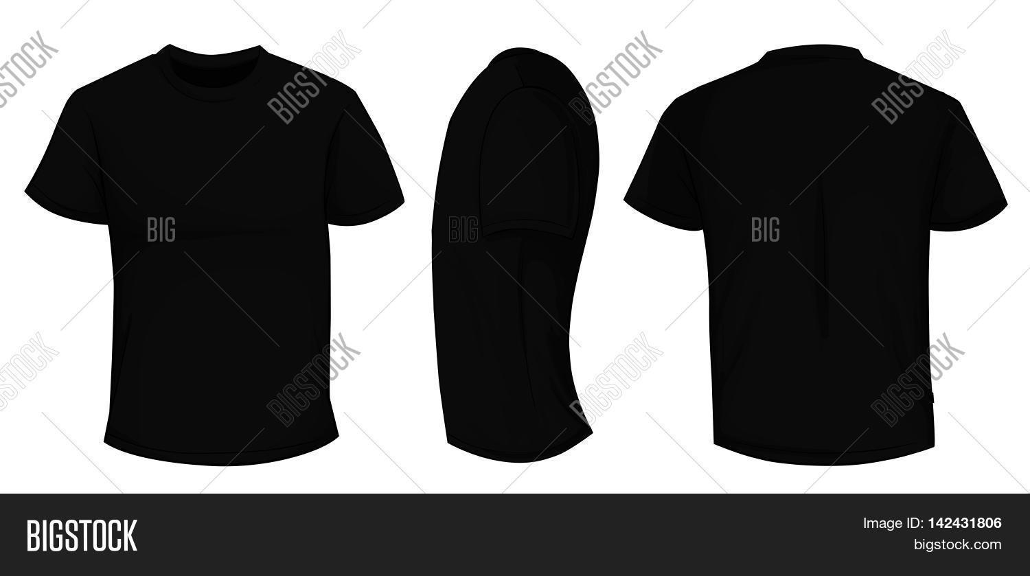 Blank black t shirt front and back -  Front And Back Template Vector Illustration Of Blank Black Men T Shirt Download