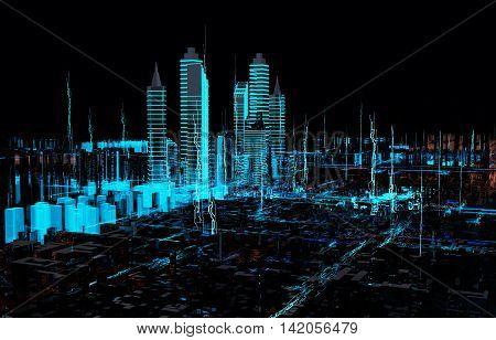 3d Holograms Wallpaper Render Hologram Futuristic 3d City Neon Light Stock Photo