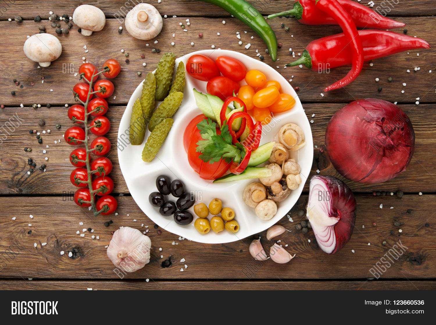 Plate With Food Top View Restaurant Appetizer Food Image And Photo Bigstock